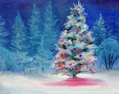 Snowy Eve, landscape painting, woods painting, Snow Scene