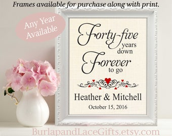 45th Wedding Anniversary Gift to Wife Gift to Husband Gift Personalized Gift for Wife Gift for Husband Framed Gift Personalized Wife (208)