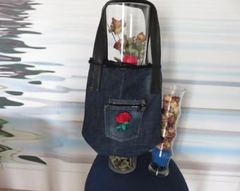 purse jeans recycled with imitation leather strap