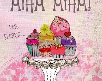 """Greeting card ' yum yum """"handmade 15cm x 15cm"""