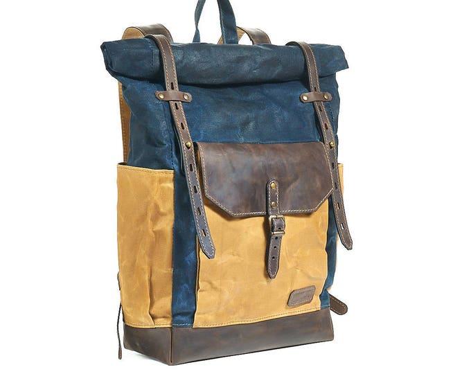 Navy blue waxed canvas backpack. Custom order for Joshua.