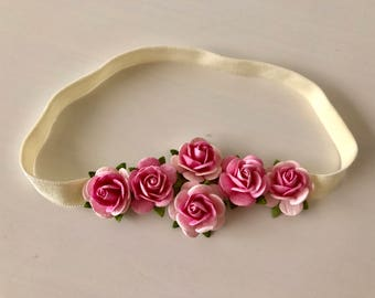 Newborn headband, Flower Crown, Ivory Crown, Pink Crown,  Floral Crown, Decorative Headband, Photo Prop, Halo Headband