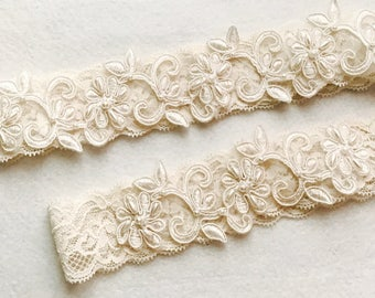 Wedding Garter , bridal garter, champagne lace garter-C-17#