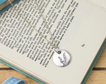 Fine Silver Lavender Necklace - Silver Lavender Print Pendant - Lavender Print Charm Necklace - Silver Lavender Print Charm Necklace