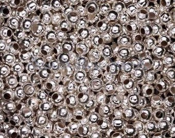 Set of 200 4Mm shiny silver metal round beads