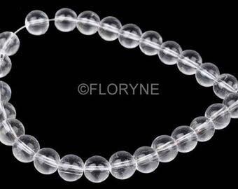 Set of 20 transparent glass 10mm round beads