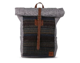 Roll top backpack / Small / Backpack woman backpack men / Laptop bag / School backpack / Ethnic bag / Kilim bag / Outdoor travel bag daypack