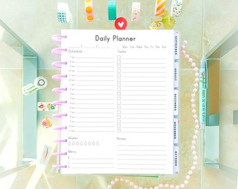 DAILY PLANNER Printable Letter Size 8.5x11 Big Happy Planner Insert Work Day Planner Pages Desk Planner PDF Daily Agenda. Instant Download.
