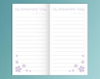 Midori TN Insert Printable My Achievements Traveler's Notebook Printable Insert Refills Midori Traveler Purple Inserts Instant Download PDF