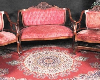 Antique  Carved Settee Rocking Chair Side Chairs  Old Man Winter