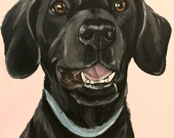 Black lab art, Black Labrador print from original canvas Black Lab painting, Black Labrador retriever print,  Canvas or paper options