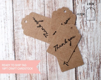 25pcs Thank you scallop top small tags ready to ship brown kraft card stock