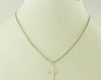 33% Off Christmas in July Sterling Silver Laser Cut Cross Pendant Necklace 16""