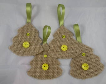 Noel25 - 4 beige and green Christmas trees in jute and buttons