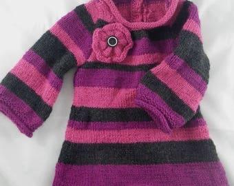 Robe001 - Robe tunique à rayures roses et grises
