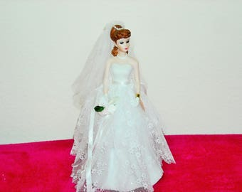 """Enesco """"From Barbie With Love""""/Wedding Day Musical Porcelain Figurine/Plays """"Wedding March By Mendelssohn""""/Absolutely Beautiful/Limited Ed."""