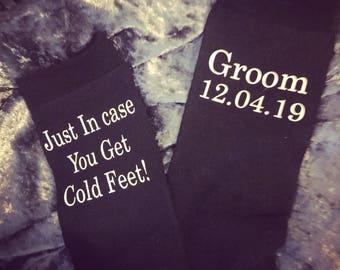 Groom, cold feet, personalised socks, best man