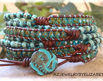 Seed Bead Leather Wrap Bracelet/ Elephant Bracelet/ Seed Bead Bracelet/ Elephant Leather Bracelet/ Beaded Wrap Bracelet/ Boho Wrap Bracelet