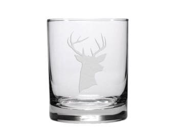 Stags Head Whiskey Glass / Free Personalization / Etched Glass Whiskey Glass / Engraved Rocks Glass