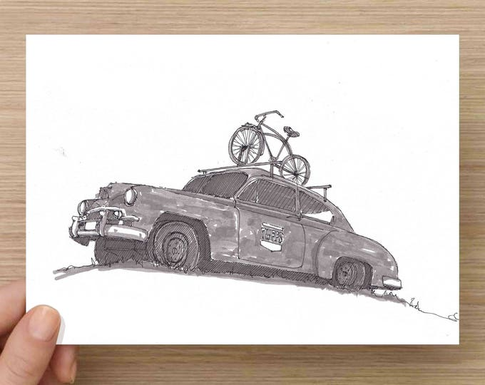 Featured listing image: Old Rusty Classic Car with Bike - Tupps Brewery, McKinney, Texas, Ink Drawing, Sketch, Black and White, Art, Pen and Ink, 5x7, 8x10