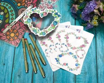 Hand drawn Flowery Heart Wreath nature stickers