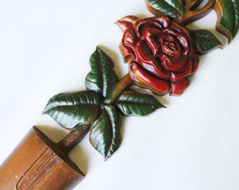 Red Roses Topiary Metal Wall Decor - Hand Painted Cast Iron 1960s Decorative Accent by Sexton - Red Green Brown - Rose Flower Garden - 47463