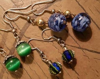 Summer Sale Set of Three Green and Blue Sparkle Bead Dangle Earrings
