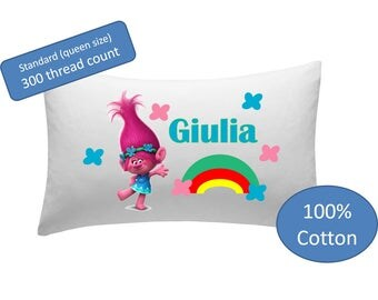 Personalized Pillowcase - Trolls pillow, children's pillow case, little girls, kids bedding
