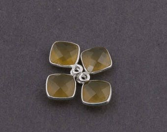 CIJ SALE 4 Pcs Yellow Chalcedony 925 Sterling Silver Faceted Cushion Single Bail Pendant - 12mmx9mm SS630