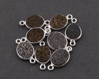 MEGA SALE 8 Pcs Mystic Brown Druzy Druzzy Drusy Oval Shape 925 Sterling Silver Double Bail Connector 17x9mmx18x10mm SS960