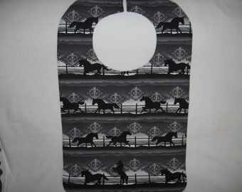 Western Look Special Needs Bib, Extra Large Horse Bib, Soft Flannel Reversible Bib, Child, Teen, or Small Adult Bib