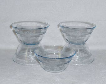 Fire King Philbe Sapphire Blue Custard Cups ~ Set of 5 ~ Vintage Glass by Anchor Hocking
