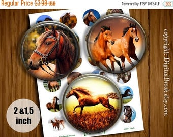 SALE 50% Digital Collage Sheet Horses 2 inch 1.5 inch Printable circle images for Pocket Mirrors Magnets Labels Pendant Gift - 199