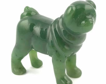 Canadian Nephrite Jade Carving, Pug