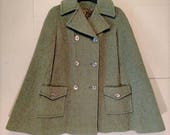 Seventies Winter Cape Coat.  Green with gold buttons.