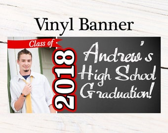 Class of 2018 Graduation Photo Banner ~ Congratulations Personalized Party Banners - Grad Party Banners, Graduation Banner, Printed Banner
