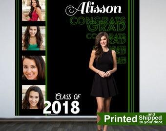 Congrats GRAD Personalized Photo Backdrop -Green Photo Strip Photo Backdrop- Class of 2018 Photo Backdrop - Graduation Photo Booth Backdrop