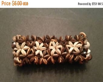 SALE Brown and Natural Wood Flower  Bead Bracelet Boho Tribal Stretch Jewelry