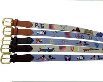 promotion-custom needlepoint belt for graduation...6 designs with initials included, free shipping