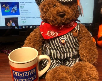 Vintage Lionel Electrix Trains Mug with New Bear Plush
