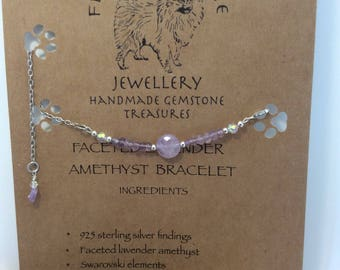 Delicate fluffysmudge faceted lavender amethyst and swarovski crystals with 925 sterling silver bracelet