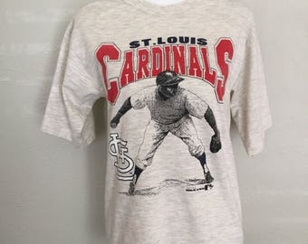 Old School 1990 St. Louis Cardinals Baseball T-Shirt Gray Size Medium USA Made Rad MLB