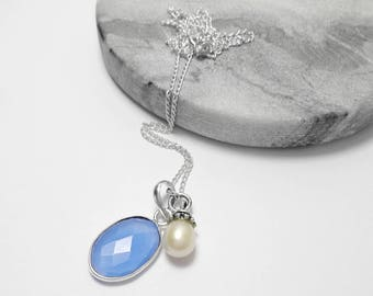 925 Sterling Silver Blue Chalcedony Pearl Pendant Necklace