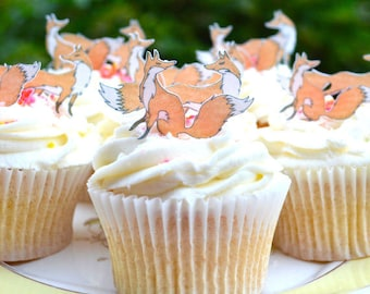 Edible Foxes Wafer Paper Fox Spring Wedding Cake Decorations Autumn Cupcake Fall Cookie Topper Woodland Rustic Animal Orange Pair Couple