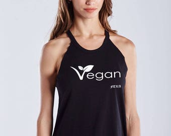 FTLA Apparel Warrior Goddess Black Raw Edge Vegan Leaf Tank Top, Vegan Tank Top, Vegan Shirt, Muscle Tank, Workout Shirt, Fitness