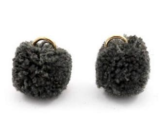 Pompom pendant, pom Poms, Pom Pons-5 PCs.-Ø 15 mm-Color selectable (colour: Anthracite black)