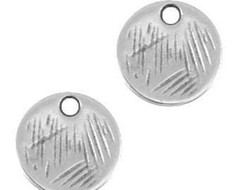 DQ Metal pendant round-Ø 9 mm-3 pcs.-Zamak-gilded or silver-colour choice Possible (color: silver)