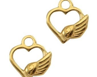 """DQ Metal pendant, charm """"heart with Angel Wings""""-3 pcs.-Zamak-color selectable (color: Gold)"""