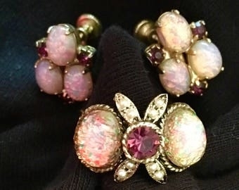 Faux Opal Ring and Earrings