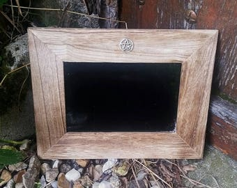 Wooden scrying mirror, black mirror, divination mirror, Witches mirror, Wheel of Fortune, divination tools, gypsy glass, pagan altar tools,